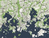 Map of the city of Helsinki, Finland. Vector map of the city of Helsinki, Finland Stock Photo