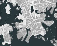 Map of the city of Helsinki, Finland. Vector map of the city of Helsinki, Finland Stock Photography