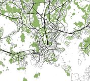 Map of the city of Helsinki, Finland. Vector map of the city of Helsinki, Finland Royalty Free Stock Photos