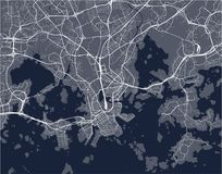 Map of the city of Helsinki, Finland. Vector map of the city of Helsinki, Finland Stock Images