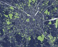 Map of the city of Milan, capital of Lombardy, Italy. Vector map of the city of Milan, capital of Lombardy, Italy Stock Photos