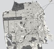 Map of the city of San Francisco, USA. Vector map of the city of San Francisco, USA stock illustration