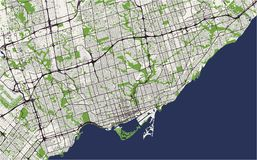 Map of the city of Toronto, Canada. Vector map of the city of Toronto, Canada Stock Photos