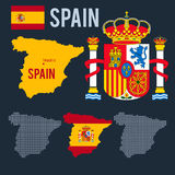 Vector map coat emblem flag halfton maps of Spain Royalty Free Stock Image