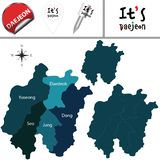 Map of Daejeon with Districts, South Korea. Vector map of Daejeon in South Korea with named districts and travel icons royalty free illustration