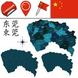 Map of Dongguan with divisions. Vector map of Dongguan with named divisions and travel icons. There are chinese characters in a set - it means Dongguan Royalty Free Stock Photography