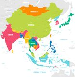 Colorful Vector map of East Asia. Vector map of East Asia Continent with Countries, Capitals, Main Cities and Seas and islands names in strong brilliant colors royalty free illustration