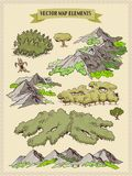 Vector map elements, colorful, hand draw - forest, tree, wood 1. Vector colorful map hand draw stock elements for fantasy map and board games vector illustration
