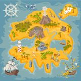 Vector map elements of fantasy pirate island in colorful illustration and hand draw of mystery realm. Vector map elements of fantasy pirate island illustration Royalty Free Stock Photo