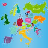 Vector map of Europe with countries and names of their capitals. On a blue background Royalty Free Stock Photos