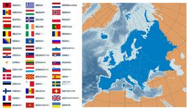 Vector map Europe with flags Stock Photography