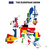 Vector map of The European Union. Vector highly detailed political map of The European Union with flags and capitals. All elements are separated in editable Royalty Free Stock Images