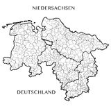 Vector map of the federal state of Lower Saxony, Germany Stock Photo