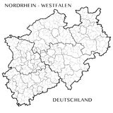 Vector map of the federal state of North Rhine Westphalia, Germany Stock Image
