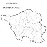 Vector map of the federal state of Saarland, Germany. Detailed map of the federal state of Saarland, Germany with 4 layers corresponding to the background layer vector illustration