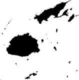 Vector map of Fiji. Black vector map of Fiji Stock Photos