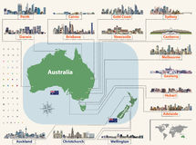 Vector map and flags of Australia and New Zealand with largest cities skylines. Location, navigation and travel icons Royalty Free Stock Image