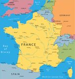 Vector map of France. With major cities Royalty Free Stock Images