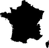 Vector map of france. Black vector map of france Stock Images