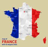 Vector Map of France and its Largest cities. Vector geometric polygonal map of France, painted in the colors of the national flag, with Marked its Capital and Royalty Free Stock Photography
