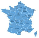 Vector Map of France with Provinces and Major Cities. Vector graphic map of France with major cities, and provinces; blue isolated on white Royalty Free Stock Photo