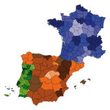 vector  map of france, spain and portu Stock Photos