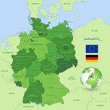 Vector Map of Germany. A High Detail vector Map of Germany States and major cities, with a 3D Globe centered on Germany and both Eu and Germany flags Stock Images