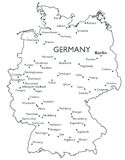 Vector map of Germany. Monochrome contour map with city names Royalty Free Stock Photo