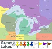 Map of Great Lakes. Vector map of Great Lakes with countries, big cities and icons Stock Photo
