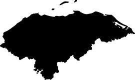 Vector map of honduras. Black vector map of honduras Stock Images
