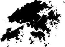 Vector map of hong kong. Black vector map of hong kong