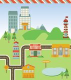 Vector map with houses, road and signs. Illustration in retro style Royalty Free Stock Photo