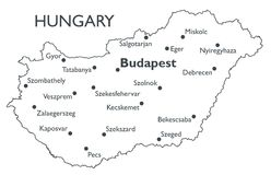 Vector map of Hungary Stock Photography