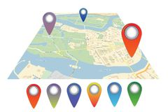 Vector map icon with Pin Pointer Stock Photography