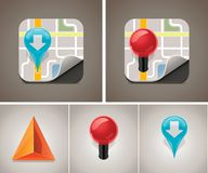 Vector map icon set stock illustration