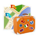 Vector map icon and suitcase Stock Photography