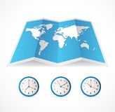 Vector map icon and world time clocks Royalty Free Stock Photo