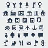 Vector map icons set Royalty Free Stock Image