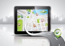 Vector map illustration with shiny pda device. Royalty Free Stock Image