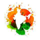 Vector map of india with colorful ink splashes Royalty Free Stock Image