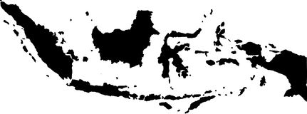 Vector map of indonesia. Black vector map of indonesia Royalty Free Stock Images