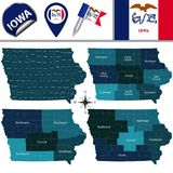 Map of Iowa with Regions. Vector map of Iowa with named regions and travel icons Stock Images