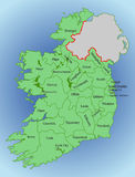 Vector map of Ireland. Republic of Ireland. Map of Ireland with the division into counties Royalty Free Stock Photo
