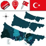 Map of Istanbul with Districts Stock Photos