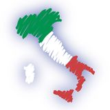 Vector map Italy. Drawing of the map of Italy (from CMYK to RGB Royalty Free Stock Image