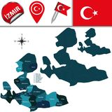 Map of Izmir, Turkey with Districts. Vector map of Izmir, Turkey with named districts and travel icons vector illustration