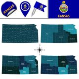 Map of Kansas with Regions. Vector map of Kansas with named regions and travel icons Stock Image