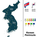 Map of Korean Peninsula Royalty Free Stock Photo