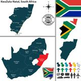 Map of KwaZulu Natal, South Africa. Vector map of KwaZulu Natal province and location on South African map Stock Photo