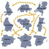 Vector map of Luxembourg, Belgium, France, the Netherlands, Portugal, Spain, Liechtenstein , Andorra and Switzerland Stock Image